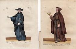 Très anciennes, estampes, gravures en couleur et réhaussées a l'encre ou aquarelle, de costumes de religieux