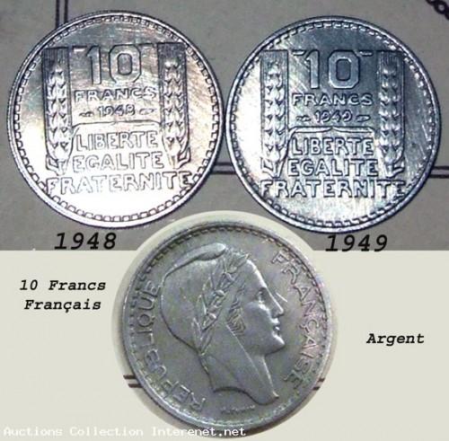 Piece de monnaie _ 10 Francs Francais P.Turin Argent 1948 et 1949